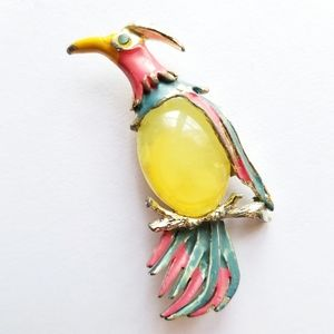 Vintage Jelly Belly bird brooch yellow pin